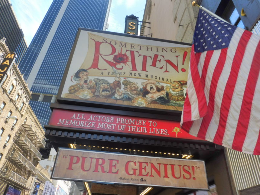 USA New York Something Rotten ad outside theatre 1