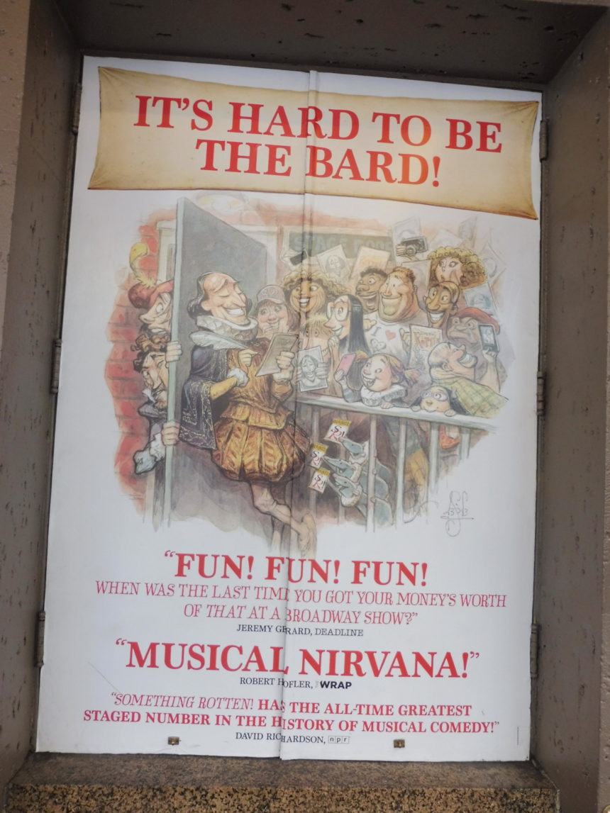 USA New York Something Rotten ad outside theatre 2