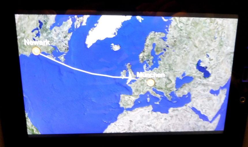 Flight map Newark to Munich