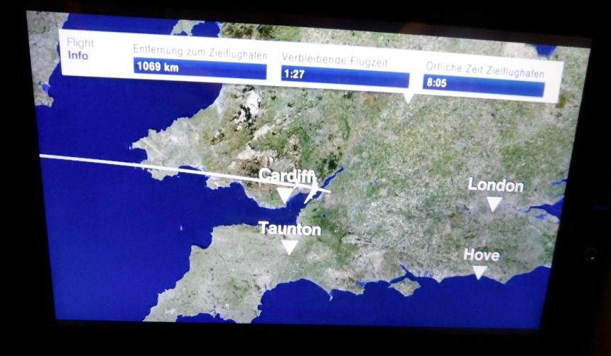 Flight path over Cardiff Wales 1