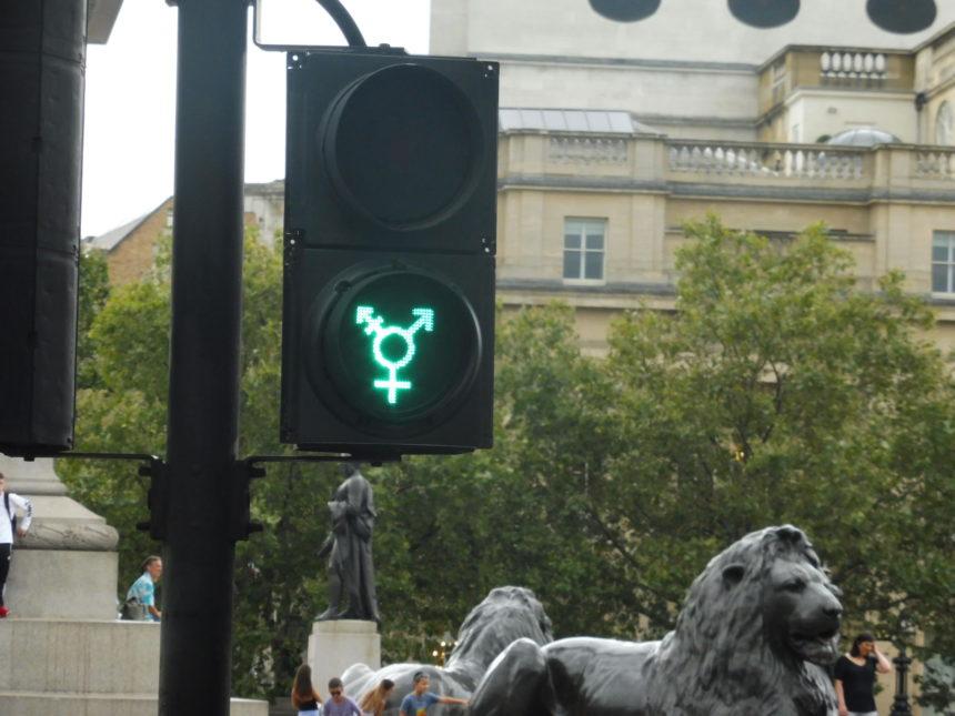 England London Trafalgar Square transgender traffic lights again