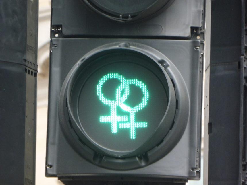 England London around Trafalgar Square lesbian traffic lights again