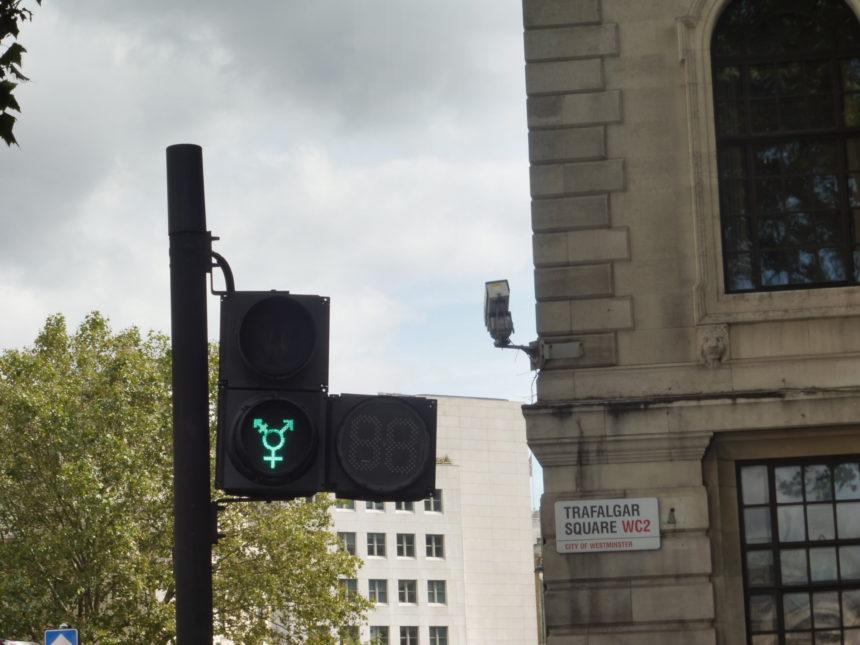 England around Trafalgar Square - transgender traffic light