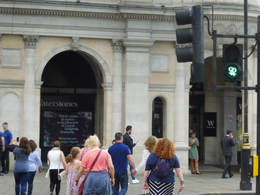 England around Trafalgar Square - two women traffic light