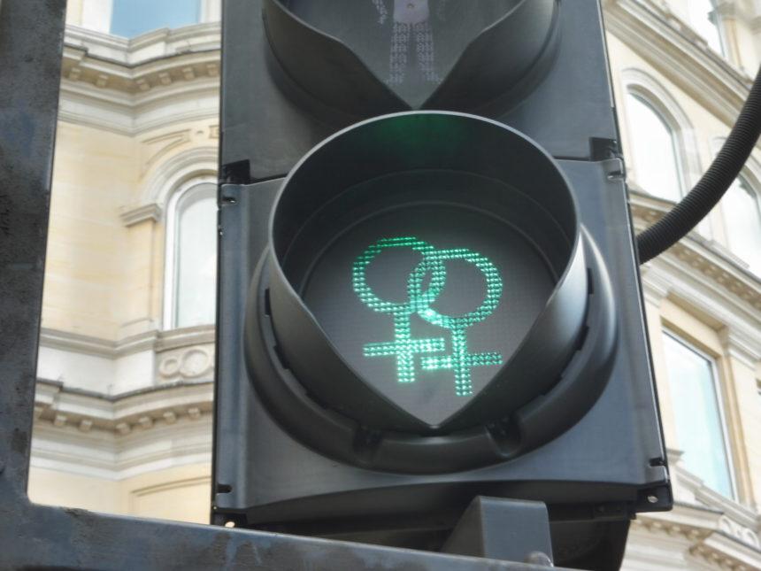 England around Trafalgar Square - lesbian traffic lights