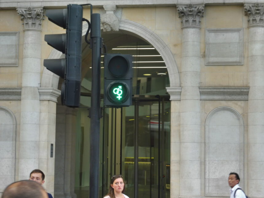 England around Trafalgar Square hetero traffic lights